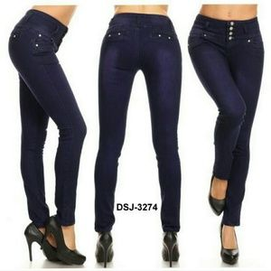 Denim - DSJ-3274 Colombian Design Push Up Skinny Jeans.